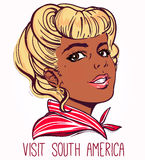Latin America poster with pretty girl. Royalty Free Stock Photography