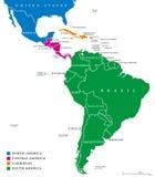 Latin America regions political map Stock Image