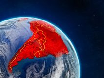 Latin America from space. On realistic model of planet Earth with country borders and detailed planet surface and clouds. 3D illustration. Elements of this royalty free illustration