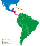 Latin America subregions map. The subregions Caribbean, North, Central and South America in different colors and with national borders of each nation Royalty Free Stock Photos