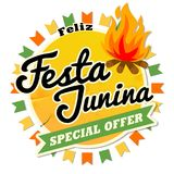 Latin America Traditional Festa Junina, the June party of Brazil. Retro style seamless design with symbolism of the. Holiday for Invitation card Banner Royalty Free Stock Photos