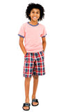 Latin American Boy Standing. And smiling isolated over white Royalty Free Stock Photos