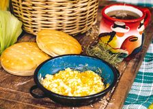 Latin American breakfast on wood table royalty free stock photo