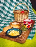 Latin American breakfast on wood table stock photo