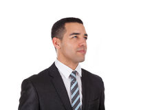 Latin American business man looking up  isolated on white backgr. Ound Royalty Free Stock Photos