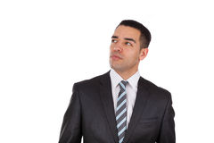 Latin American business man looking up  isolated. On white background Stock Image