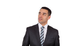 Latin American business man looking up  isolated Stock Photos