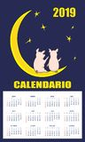 Latin-American children calendar 2019 with piglets on the moon royalty free illustration