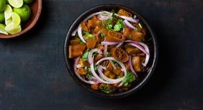 Latin american chilean food. Salad ceviche of edible seaweed cochayuyo Stock Image