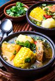 Latin American food. Traditional chilean pork soup cazuela. Cazuela Chilena. Latin American chilean food. Traditional chilean cazuela de cerdo with chuchoca stock image