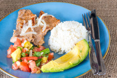 Latin American cuisine fusion. Pork steak, white rice,pico de gallo and avocado.Mexican and Cuban cuisine fusion produces a healthy balanced plate of food royalty free stock photos