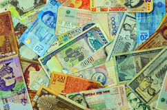 Latin American Currencies. Currency from Latin American countries such as Argentina, Uruguay, Paraguay, Mexico, Colombia, and Peru Royalty Free Stock Image