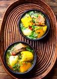 Latin American food. Traditional chilean pork soup cazuela. Cazuela Chilena Royalty Free Stock Photo