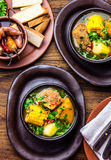 Latin American food. Traditional chilean pork soup cazuela. Cazuela Chilena Royalty Free Stock Images