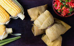 Latin American food. Traditional homemade humitas of corn. Top view stock photography