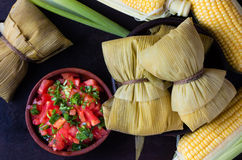 Latin American food. Traditional homemade humitas of corn. Top view royalty free stock photography