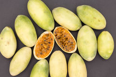 Latin American fruit called banana passionfruit (lat. Passiflora tripartita) (in Spanish mostly tumbo, curuba, taxo Stock Image