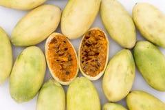 Latin American fruit called banana passionfruit (lat. Passiflora tripartita) (in Spanish mostly tumbo, curuba, taxo. Latin American fruit called banana stock images
