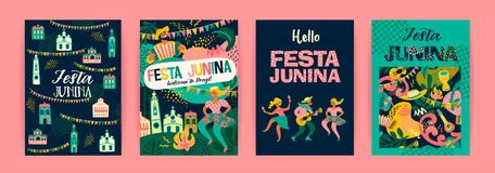 Latin American holiday, the June party of Brazil. Festa Junina. Vector templates royalty free illustration