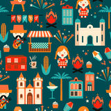 Latin American holiday, the June party of Brazil. Flat seamless pattern Stock Photo