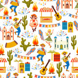 Latin American holiday, the June party of Brazil. Seamless pattern. Stock Image