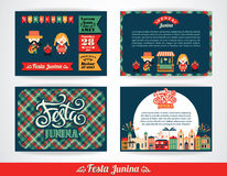 Latin American holiday, the June party of Brazil. Set of vector templates with symbolism of the holiday Royalty Free Stock Photography