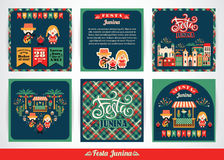 Latin American holiday, the June party of Brazil. Set of vector templates with symbolism of the holiday Royalty Free Stock Image