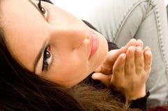 Latin american model praying Stock Photos