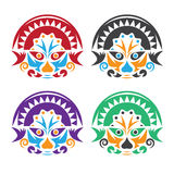 Latin american native colorful masks set vector design Royalty Free Stock Image