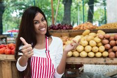 Latin american saleswoman at farmers market with potato and vegetables. And other healthy food stock image