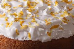Latin American Tres leches cake glazed macro. Horizontal Stock Images
