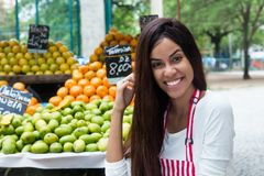 Latin american woman selling fruits at farmers market. Latin american woman selling fruits outdoors at farmers market stock photo