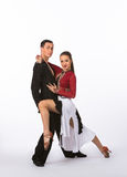 Latin Ballroom Dancers with Black and Red Gown Royalty Free Stock Images