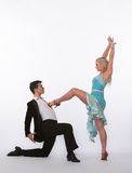 Latin Ballroom Dancers with Blue Dress - Domination Stock Photography
