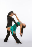 Latin Ballroom Dancers with Green Dress - Back Bend Royalty Free Stock Photography