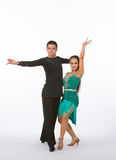 Latin Ballroom Dancers with Green Dress - Intense Royalty Free Stock Photos