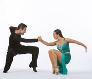 Latin Ballroom Dancers with Green Dress - Low Royalty Free Stock Photo