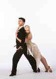 Latin Ballroom Dancers with Off-White Dress -Lean Stock Photography