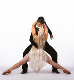Latin Ballroom Dancers with Off-White Dress - Split Royalty Free Stock Photos