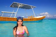 Latin beach teen girl Caribbean goggles vacation Stock Photos