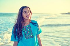 Latin beautiful girl in Caribbean beach sunset Royalty Free Stock Images