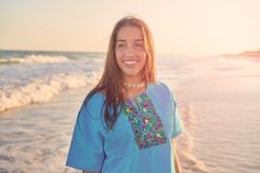 Latin beautiful girl in Caribbean beach sunset Royalty Free Stock Photo