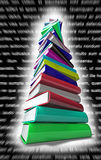 Latin Books Pile. Colorful books over a black background with blurred latin text Stock Photo