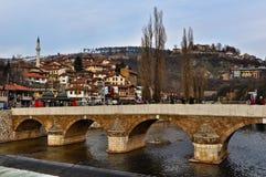 Latin bridge across Miljacka river in Sarajevo Stock Photography