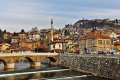 Latin bridge across Miljacka river in Sarajevo Royalty Free Stock Image
