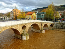 Latin Bridge on Miljacko river, Sarajevo Stock Photo
