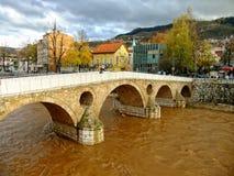 Latin Bridge on Miljacko river, Sarajevo Stock Photo