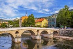 Latin Bridge in Sarajevo - Bosnia and Herzegovina. Architecture travel background royalty free stock photography