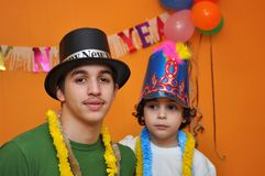 Latin Brother in a New Years Eve Party royalty free stock photo