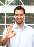 Latin business man makes compliment Royalty Free Stock Image